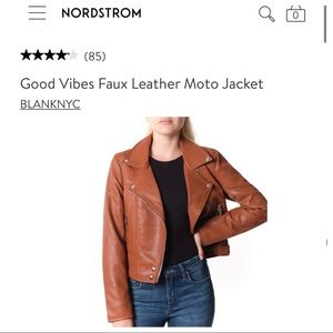NEW Blank NYC Brown Leather Moto Jacket